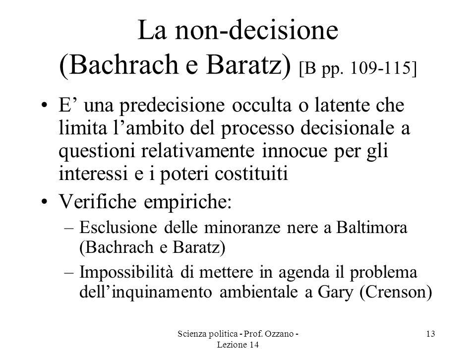 La non-decisione (Bachrach e Baratz) [B pp. 109-115]